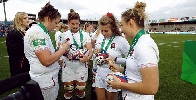 Ball signed by Red Roses Six Nations Squad